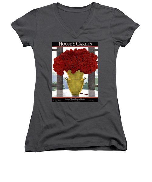 A Vase With Red Roses Women's V-Neck