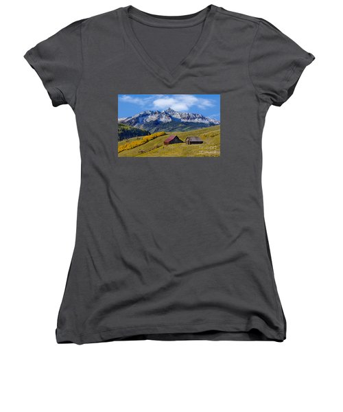 A View From Last Dollar Road Women's V-Neck T-Shirt (Junior Cut) by Jerry Fornarotto
