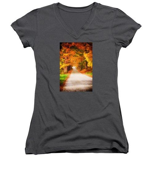 A Walk Along The Golden Path Women's V-Neck T-Shirt (Junior Cut) by Jeff Folger