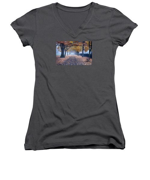 A Walk In Salem Fog Women's V-Neck
