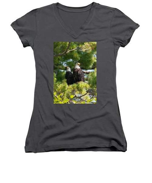 A Watchful Pair Women's V-Neck T-Shirt