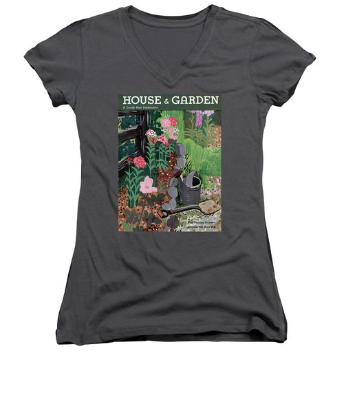 A Watering Can And A Shovel By A Flower Bed Women's V-Neck