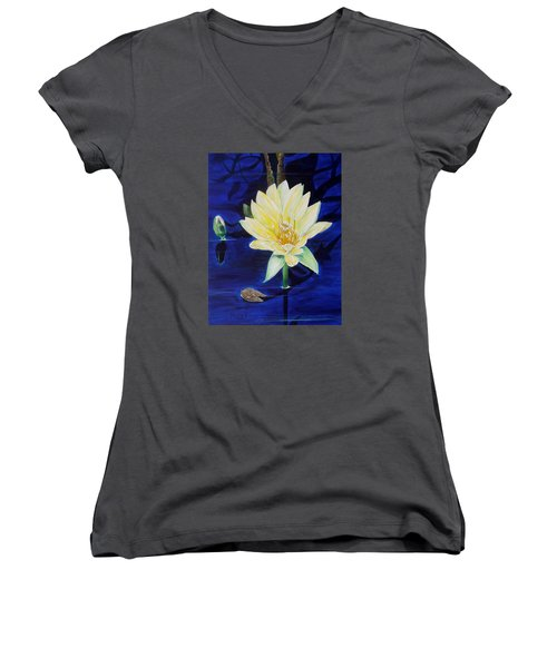 Women's V-Neck T-Shirt (Junior Cut) featuring the painting A Waterlily by Marilyn  McNish