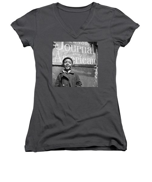 A Young Harlem Newsboy Women's V-Neck T-Shirt (Junior Cut) by Underwood Archives