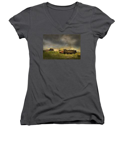 Abandoned Farm Truck Women's V-Neck (Athletic Fit)