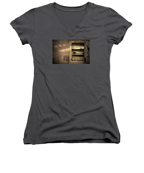 Abandoned Kitchen Cabinet Women's V-Neck T-Shirt (Junior Cut) by RicardMN Photography