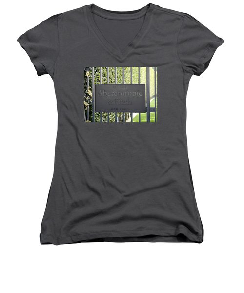 Abercrombie And Fitch Store In Paris France Women's V-Neck T-Shirt (Junior Cut) by Richard Rosenshein