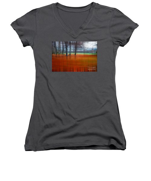 abstract atumn II Women's V-Neck (Athletic Fit)