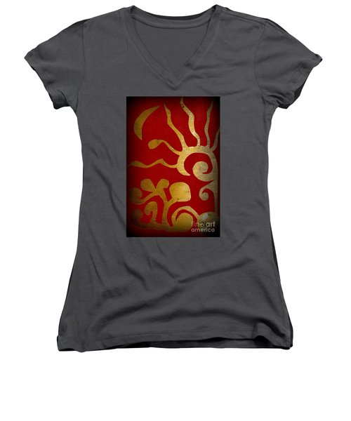 Abstract Gold Collage Women's V-Neck T-Shirt (Junior Cut) by Patricia Cleasby