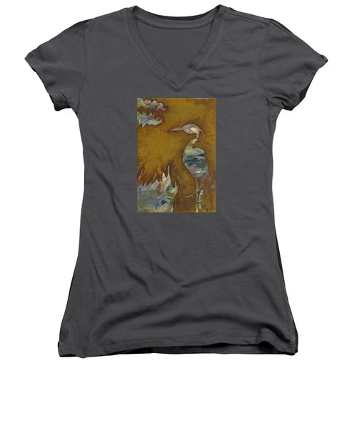 Abstract Heron Women's V-Neck T-Shirt