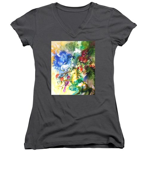 Abstract Horses Women's V-Neck (Athletic Fit)