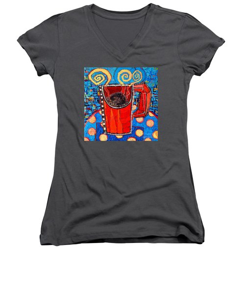 Abstract Hot Coffee In Red Mug Women's V-Neck T-Shirt (Junior Cut) by Ana Maria Edulescu