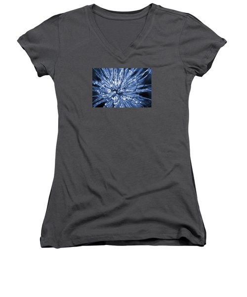 Abstract Macro Flower Head Women's V-Neck