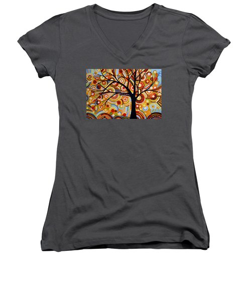 Abstract Modern Tree Landscape Thoughts Of Autumn By Amy Giacomelli Women's V-Neck T-Shirt (Junior Cut) by Amy Giacomelli