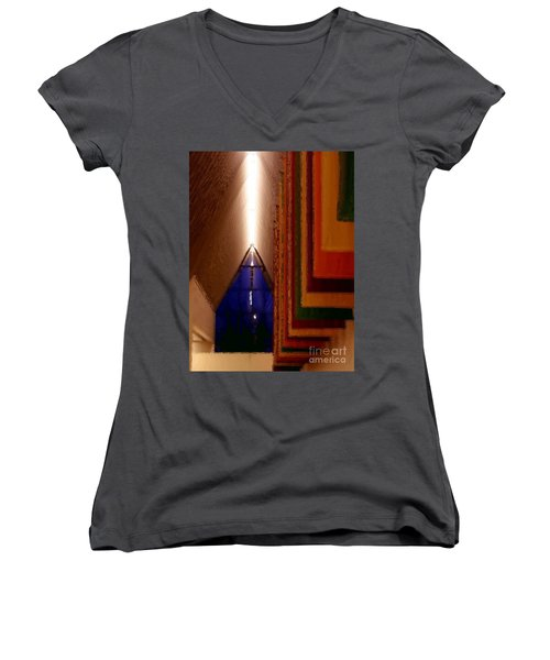 Women's V-Neck T-Shirt (Junior Cut) featuring the photograph Abstract - Center For The Arts Interior Allentown Pa by Jacqueline M Lewis