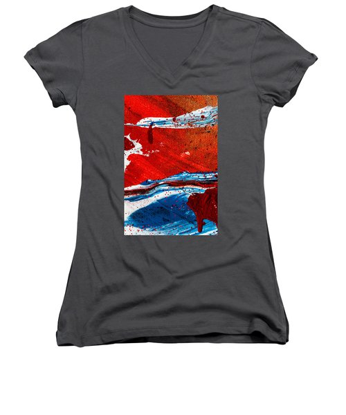Abstract Original Artwork One Hundred Phoenixes Untitled Number Three Women's V-Neck