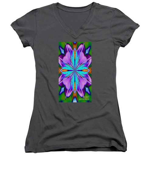 Abstract Purple Aqua And Green Women's V-Neck T-Shirt (Junior Cut) by Smilin Eyes  Treasures