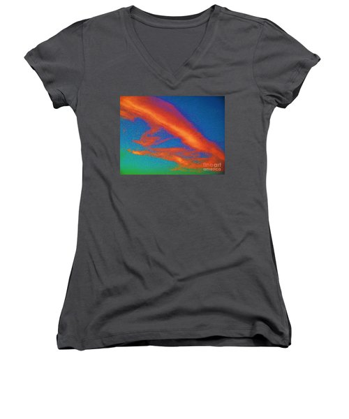 Abstract Red Blue And Green Sky Women's V-Neck T-Shirt (Junior Cut) by Eric  Schiabor