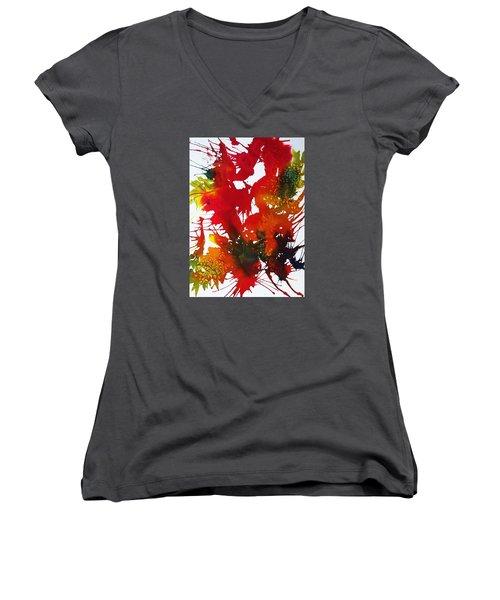 Abstract - Riot Of Fall Color II - Autumn Women's V-Neck T-Shirt (Junior Cut) by Ellen Levinson