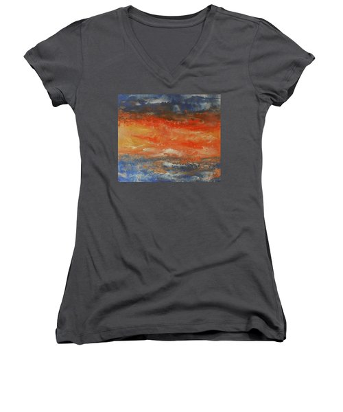 Women's V-Neck T-Shirt (Junior Cut) featuring the painting Abstract Sunset  by Jane See