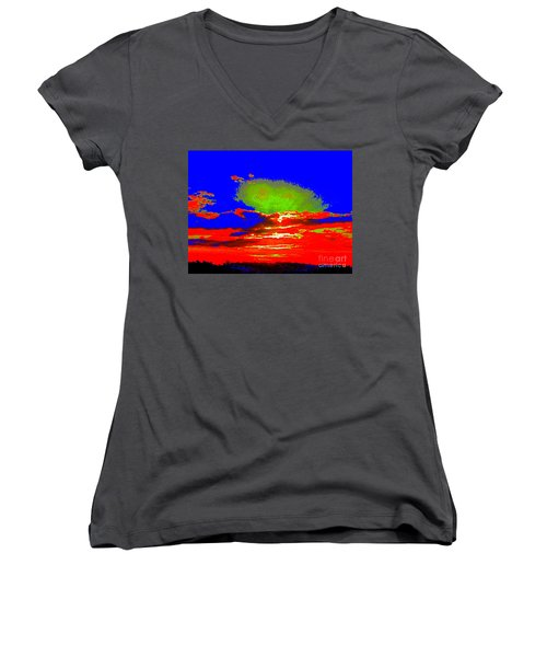 Women's V-Neck T-Shirt (Junior Cut) featuring the photograph Abstract Sunset Orange Blue Green And So On by Roberto Gagliardi