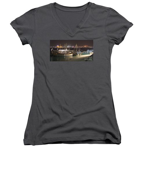 Women's V-Neck T-Shirt (Junior Cut) featuring the photograph Abu Dhabi At Night by Andrea Anderegg