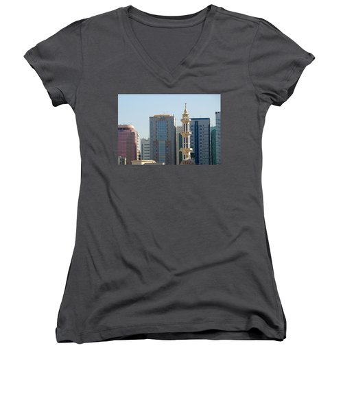 Women's V-Neck T-Shirt (Junior Cut) featuring the photograph Abu Dhabi City Center by Steven Richman
