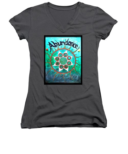 Abundance Money Magnet - Healing Art Women's V-Neck T-Shirt (Junior Cut) by Absinthe Art By Michelle LeAnn Scott