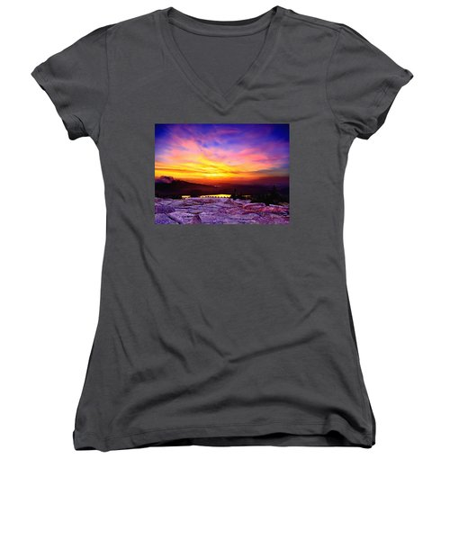 Acadia National Park Cadillac Mountain Sunrise Forsale Women's V-Neck T-Shirt (Junior Cut) by Bob and Nadine Johnston