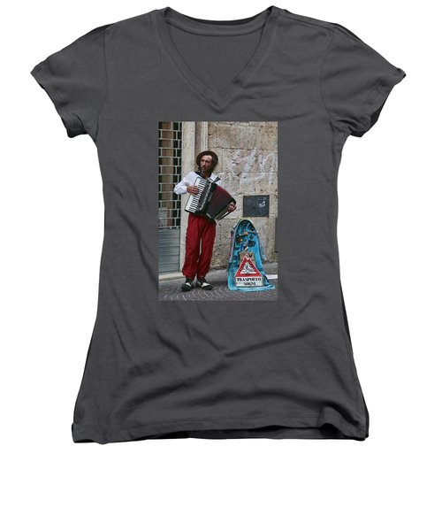 Accordian Player Women's V-Neck (Athletic Fit)