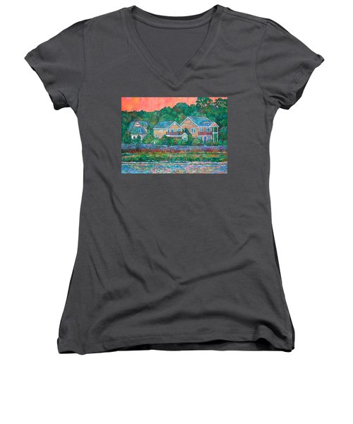 Women's V-Neck T-Shirt (Junior Cut) featuring the painting Across The Marsh At Pawleys Island       by Kendall Kessler