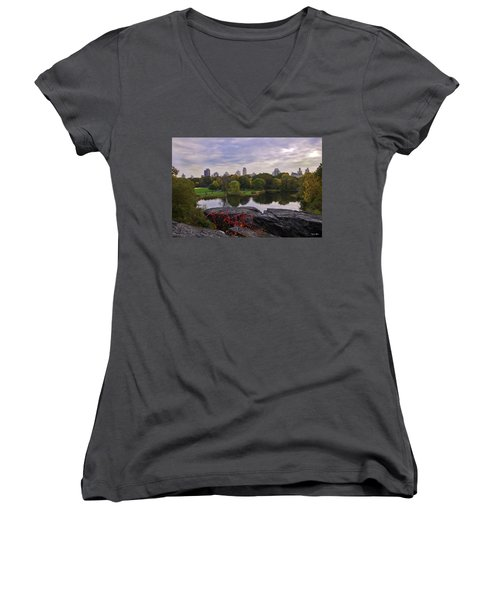 Across The Pond 2 - Central Park - Nyc Women's V-Neck (Athletic Fit)