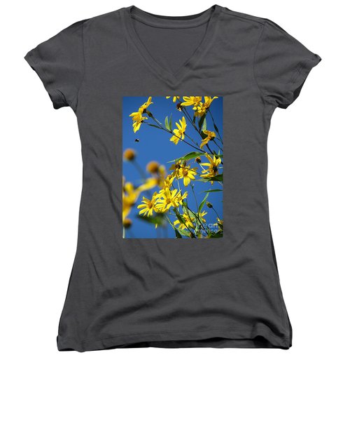 Women's V-Neck T-Shirt (Junior Cut) featuring the photograph Action by France Laliberte