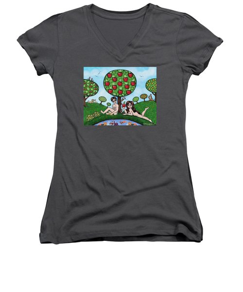 Adam And Eve The Naked Truth Women's V-Neck