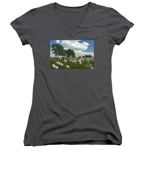 Women's V-Neck T-Shirt (Junior Cut) featuring the photograph Adleman's Peony Fields by Nick  Boren