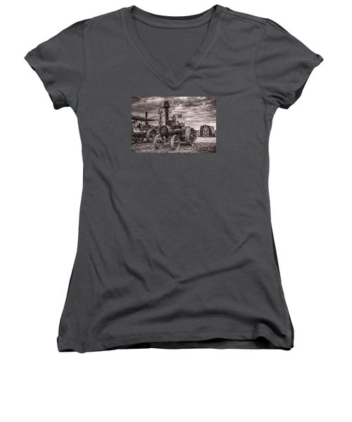 Advance Steam Traction Engine Women's V-Neck T-Shirt (Junior Cut) by Shelly Gunderson