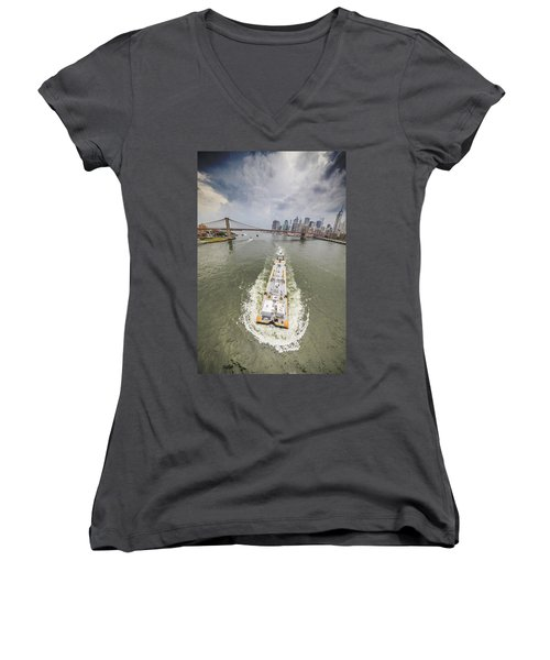 Aerial View - The Barge At The East River Women's V-Neck T-Shirt