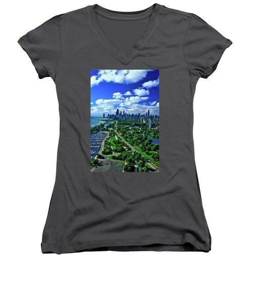 Aerial View Of Chicago, Illinois Women's V-Neck T-Shirt