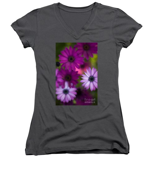 African Daisy Collage Women's V-Neck T-Shirt