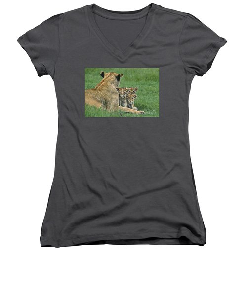 Women's V-Neck featuring the photograph African Lion Cubs Study The Photographer Tanzania by Dave Welling