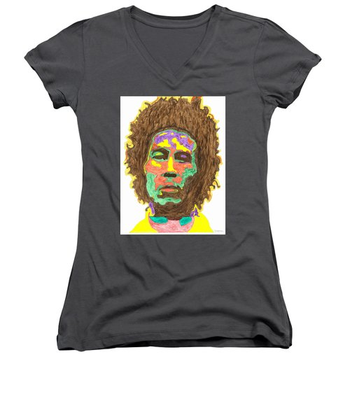 Women's V-Neck T-Shirt (Junior Cut) featuring the painting Afro Bob Marley by Stormm Bradshaw