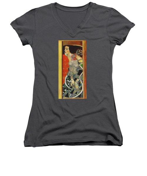 After Gustav Klimt Women's V-Neck T-Shirt (Junior Cut) by Sylvia Kula
