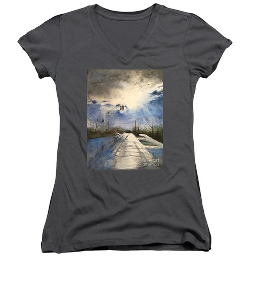 After Rain -on The Michigan Ave. Saline Michigan Women's V-Neck (Athletic Fit)