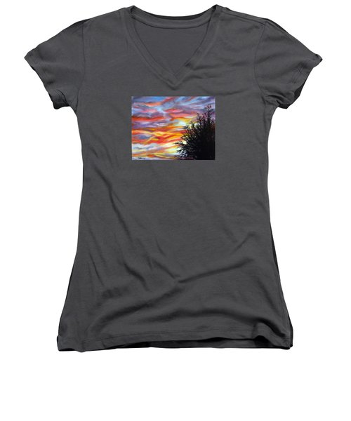 Women's V-Neck T-Shirt (Junior Cut) featuring the painting After The Storm by LaVonne Hand
