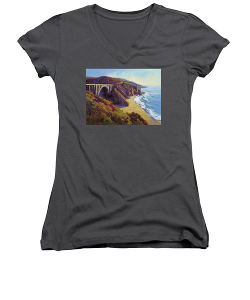 Afternoon Glow 3 Big Sur Women's V-Neck T-Shirt