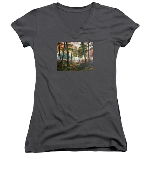 Afternoon Ride Through The Forest Women's V-Neck T-Shirt