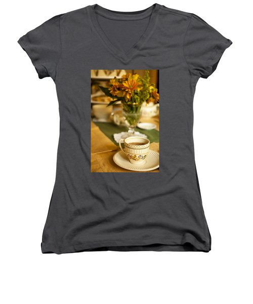 Afternoon Tea Time Women's V-Neck T-Shirt (Junior Cut) by Andrew Soundarajan