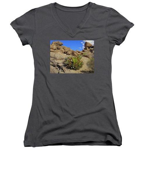 Women's V-Neck T-Shirt (Junior Cut) featuring the photograph Against The Odds by Michael Pickett