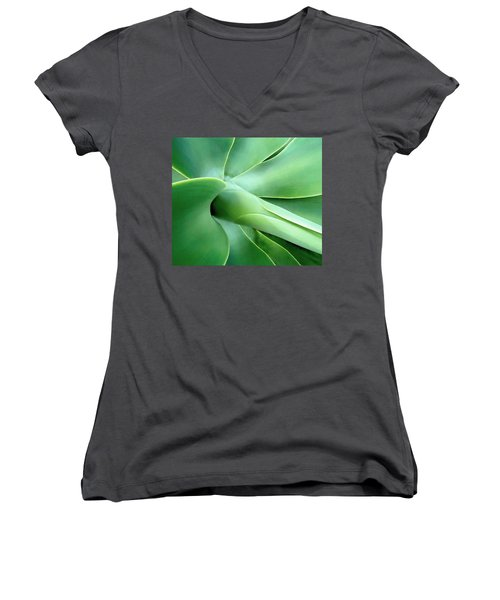 Women's V-Neck T-Shirt (Junior Cut) featuring the photograph Agave Heart by Peter Mooyman