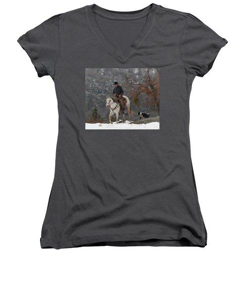 Ahwahnee Cowboy Women's V-Neck T-Shirt (Junior Cut) by Diane Bohna